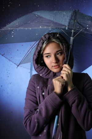 frozen girl in the rain Stock Photo - 11173035