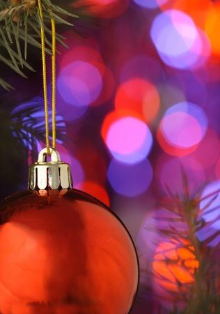 red christmas lights: christmas ball