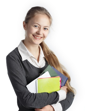 one teenage girl only: student Stock Photo