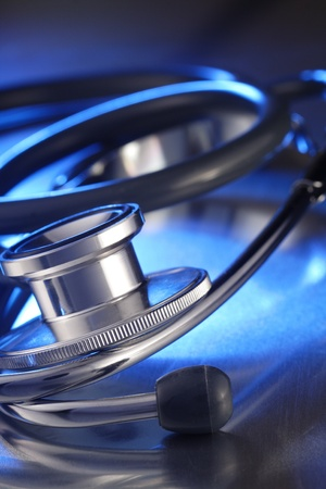 metall: stethoscope on metall deck Stock Photo
