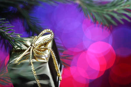 adorn: gold gift box and fir Stock Photo