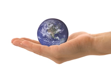 hand holding globe: globe on woman hand Blue Marble picture courtesy of NASA, see http:visibleearth.nasa.govuseterms.php for terms of use