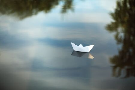 paper boat: paper ship Stock Photo