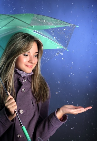 beauty girl with umbrella photo