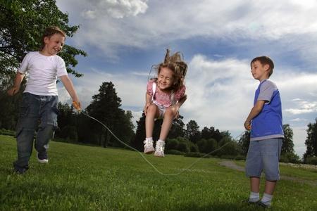 skipping: children skipping rope