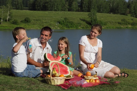 familie picnic outdoors with food photo