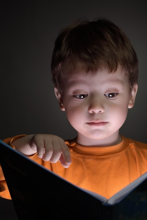 little boy read book photo