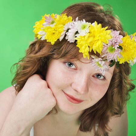 young woman with flower diadem  photo