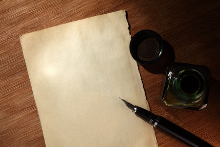 handmade paper: old paper and pen Stock Photo