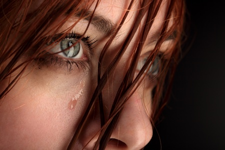 beauty girl cry on black background Stock Photo - 13432994