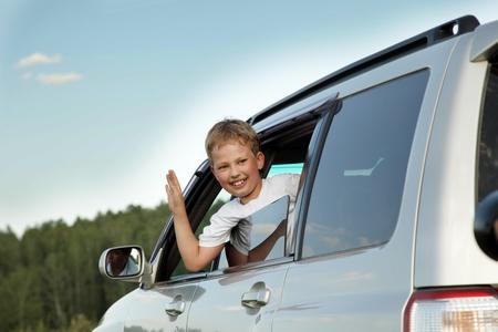 happy boy in car Stock Photo - 13432953