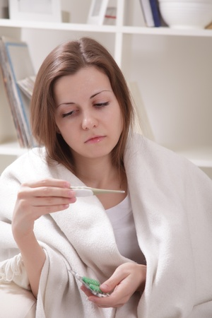 sniffles: she suffers a cold Stock Photo