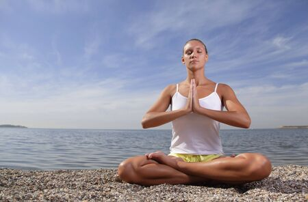 beauty girl in lotus pose Stock Photo - 13605678