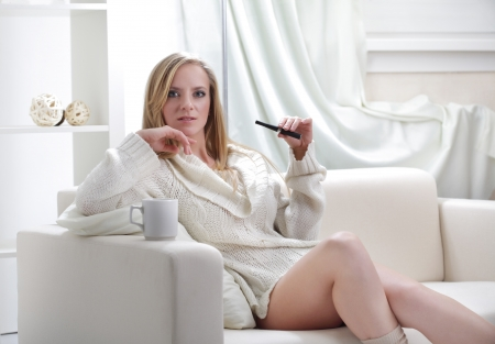 beauty girl indoors with e-cigarette Stock Photo - 13606758