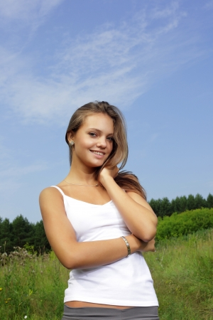outdoor pursuit: beauty girl outdoors  Stock Photo