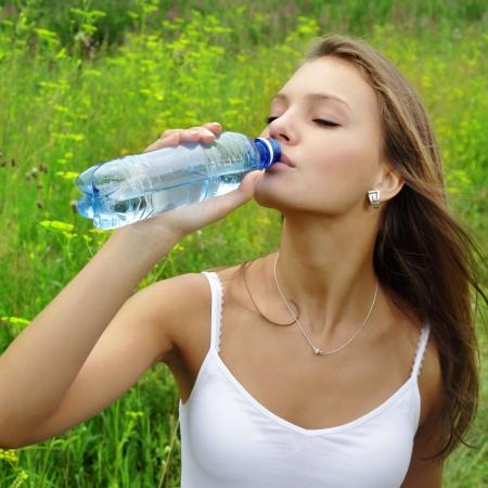 beauty girl drink water photo