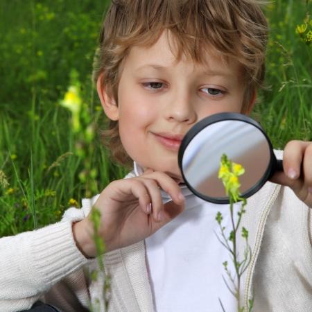 niños estudiando: muchacho al aire libre con lupa Foto de archivo