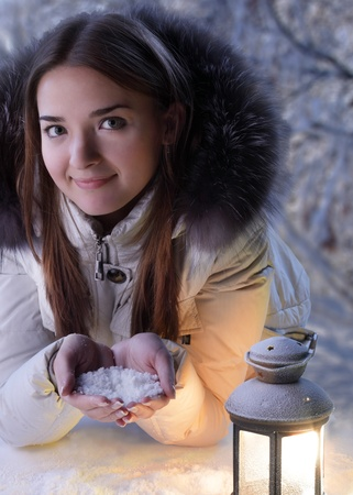 beautiful girl on winter forest with lantern Stock Photo - 15507207