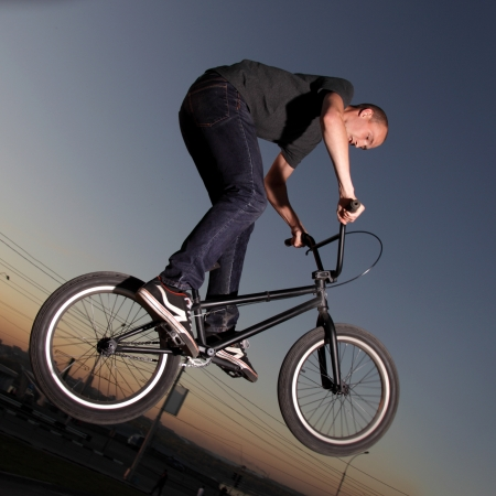 bmx bike: boy on bmx bike