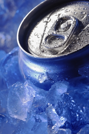 canned drink: can of bear in ice cube