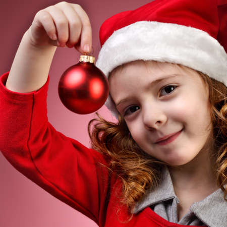 christmas girl with ball photo