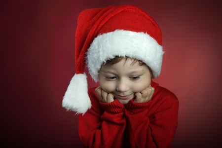 christmas baby: beauty boy in christmas hat