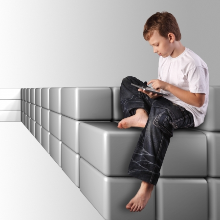 teenager with tablet pc sit on virtual wave Stock Photo - 16472464