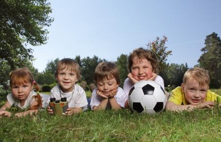 Happy boys with soccer ball  Stok Fotoğraf