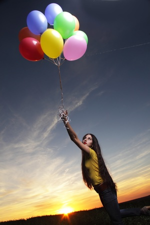beauty girl with balloon outdoors Stock Photo - 18236403
