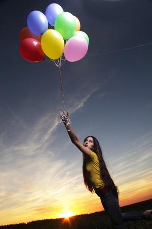 beauty girl with balloon outdoors Stock Photo - 18236403