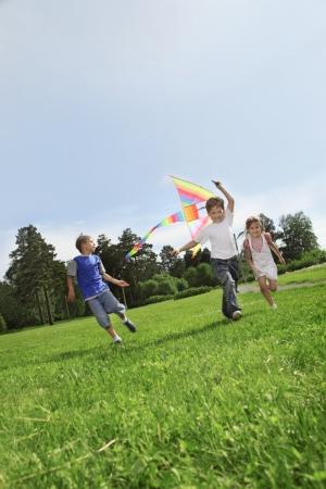 two happy boy with kite Stockfoto
