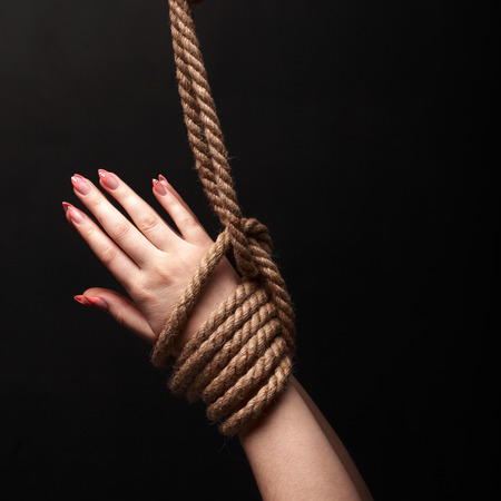 woman tied: bound hands Stock Photo
