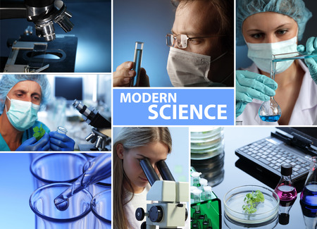microscope: modern science collage  Stock Photo