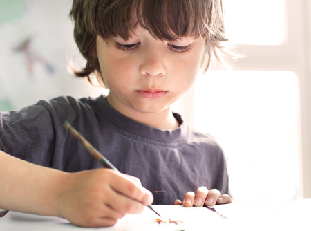 one room school house: Children draw in home
