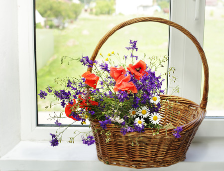 backlite: Bouquet of wildflowers on a plastic window