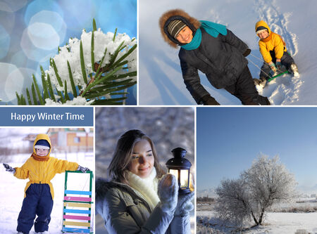 winter happy time collage photo
