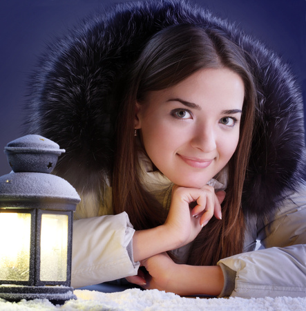 beauty girl with lamp photo