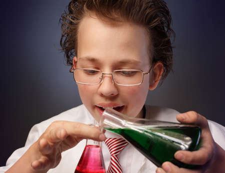 Funny emotional chemist with two flasks photo