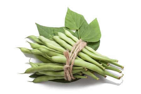 greenbeans: Bunch of green beans tied with rope on white