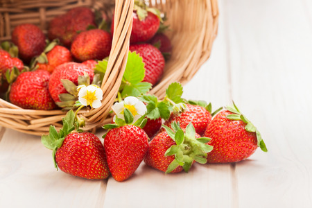 strawberry plant: basket with strawberry on table