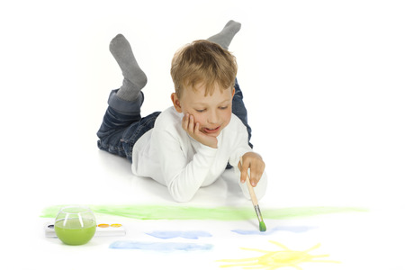 one room school house: boy draw in home Stock Photo