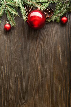 culture decoration celebration: Christmas Tree and decorations on wooden background space for lettering