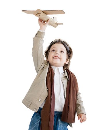 paper airplane: happy boy with airplane in hand