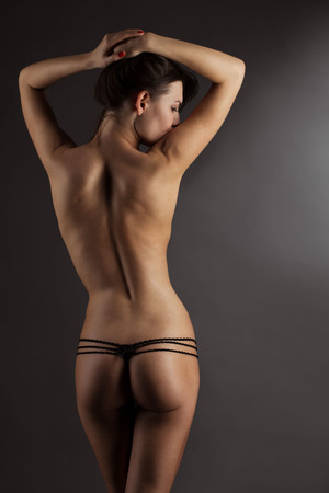 naked young people: beuty woman body in swimsuit Stock Photo
