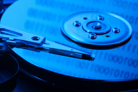 disks: open the hard drive in blue light