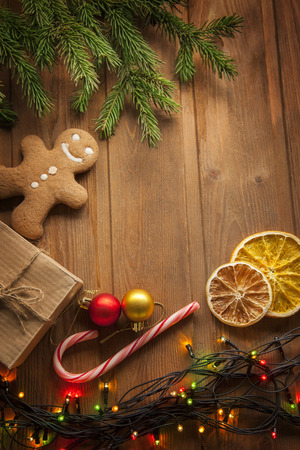 christmas table: gingerbread Christmas tree and gifts on wooden table