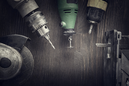 Electric hand tools (screwdriver Drill Saw jigsaw jointer) photo processing: instagram 免版税图像