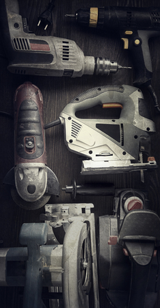 drill: Electric hand tools (screwdriver Drill Saw jigsaw jointer) photo processing: instagram Stock Photo