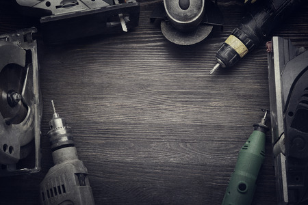 Electric hand tools (screwdriver Drill Saw jigsaw jointer) photo processing: instagram Stock Photo
