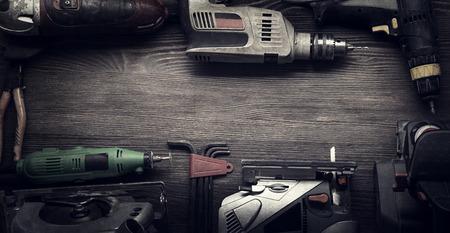 ハンド ツール (ドライバー ドリルを見たジグソー目地棒) 写真の処理: instagram 写真素材